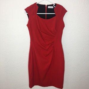Calvin Klein Red Ruche Dress Size 6